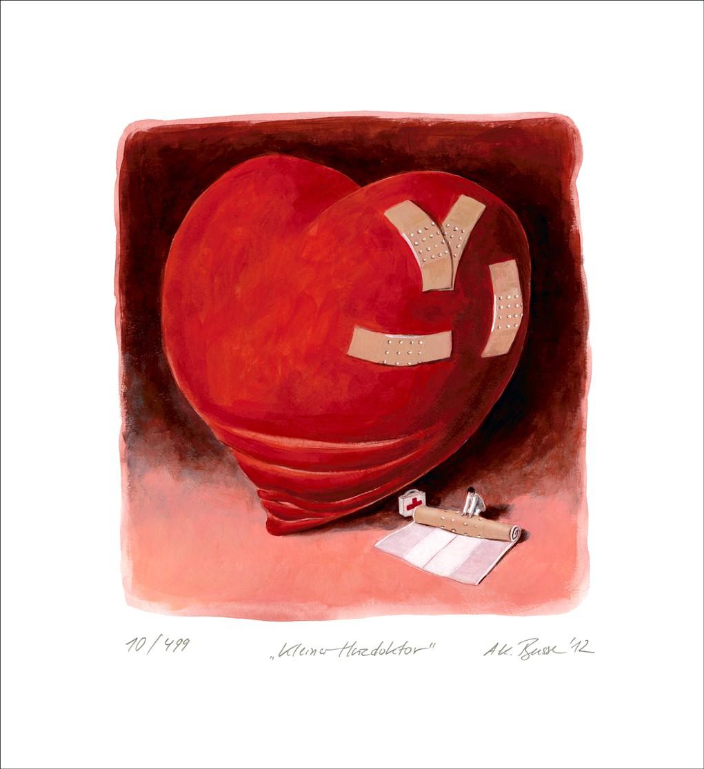 """Ann-Kathrin Busse: """"Kleiner Herzdoktor"""", ungerahmtes Blatt mit Signatur, Nummerierung und Titel"""