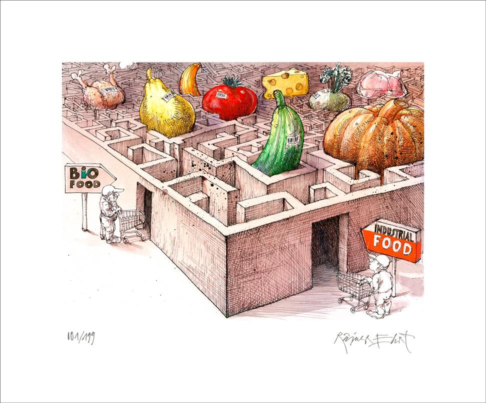 """Rainer Ehrt: """"Bio Food"""", ungerahmtes Blatt mit Signatur und Nummerierung"""
