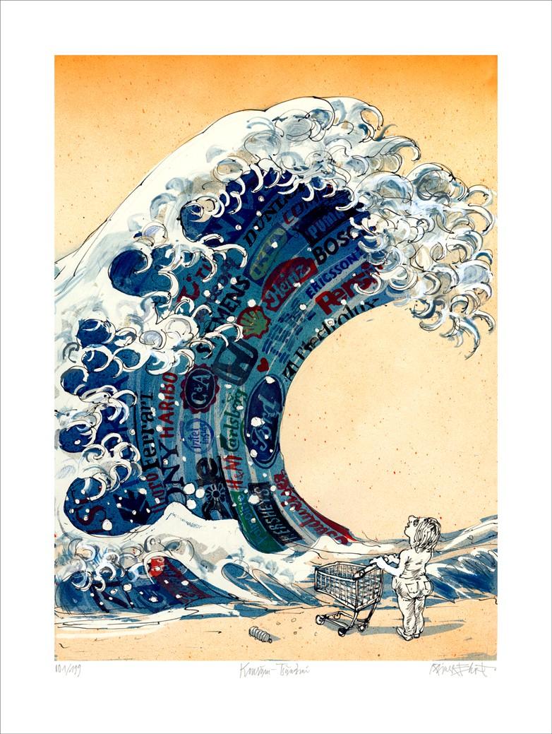 """Rainer Ehrt: """"Konsum-Tsunami"""", ungerahmtes Blatt mit Signatur, Nummerierung und Titel"""