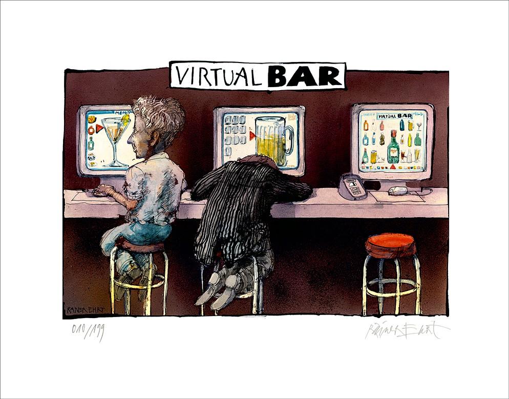 """Rainer Ehrt: """"Virtual Bar"""", ungerahmtes Blatt mit Signatur und Nummerierung"""