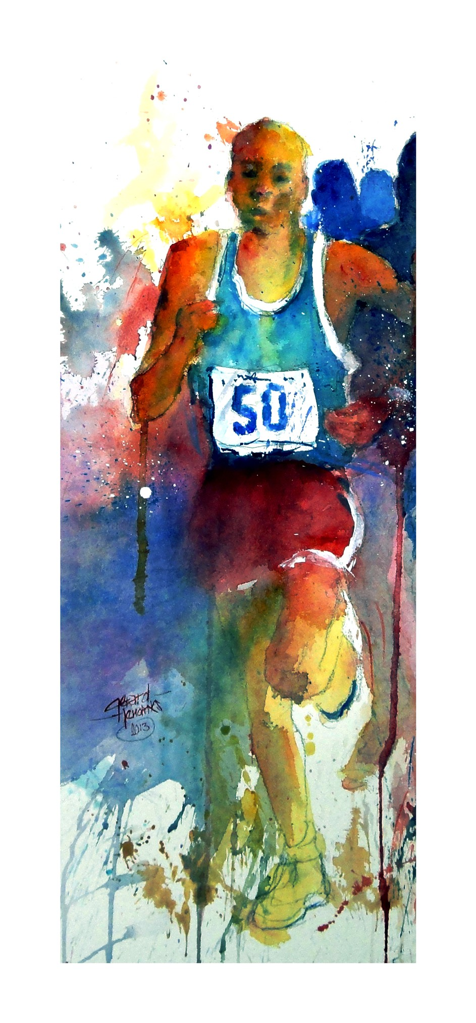 Runner - Der Läufer. Original Aquarell, 2013.