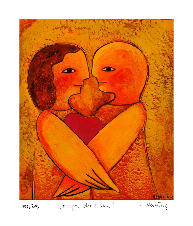 """Helga Hornung: """"Engel der Liebe"""", ungerahmtes Blatt mit Nummerierung, Titel und Handsignatur"""
