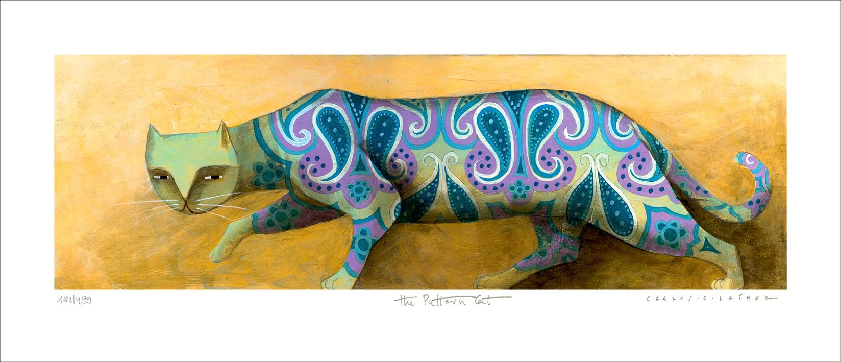 """Carlos C. Lainez: """"The Pattern Cat"""", komplettes Motiv ungerahmt, nummeriert, signiert und betitelt"""
