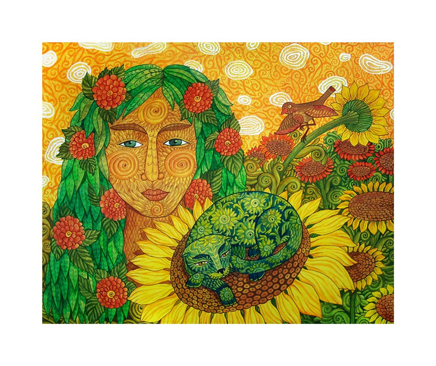 Sonnenblumen – Original-Gouache, 2011