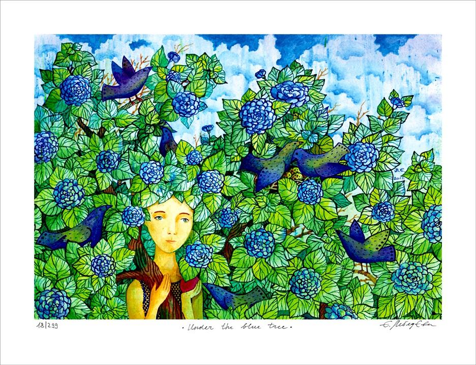 """Jane Lebedeva: """"Under the blue tree"""", ungerahmtes Blatt mit Signatur, Nummerierung und Titel"""
