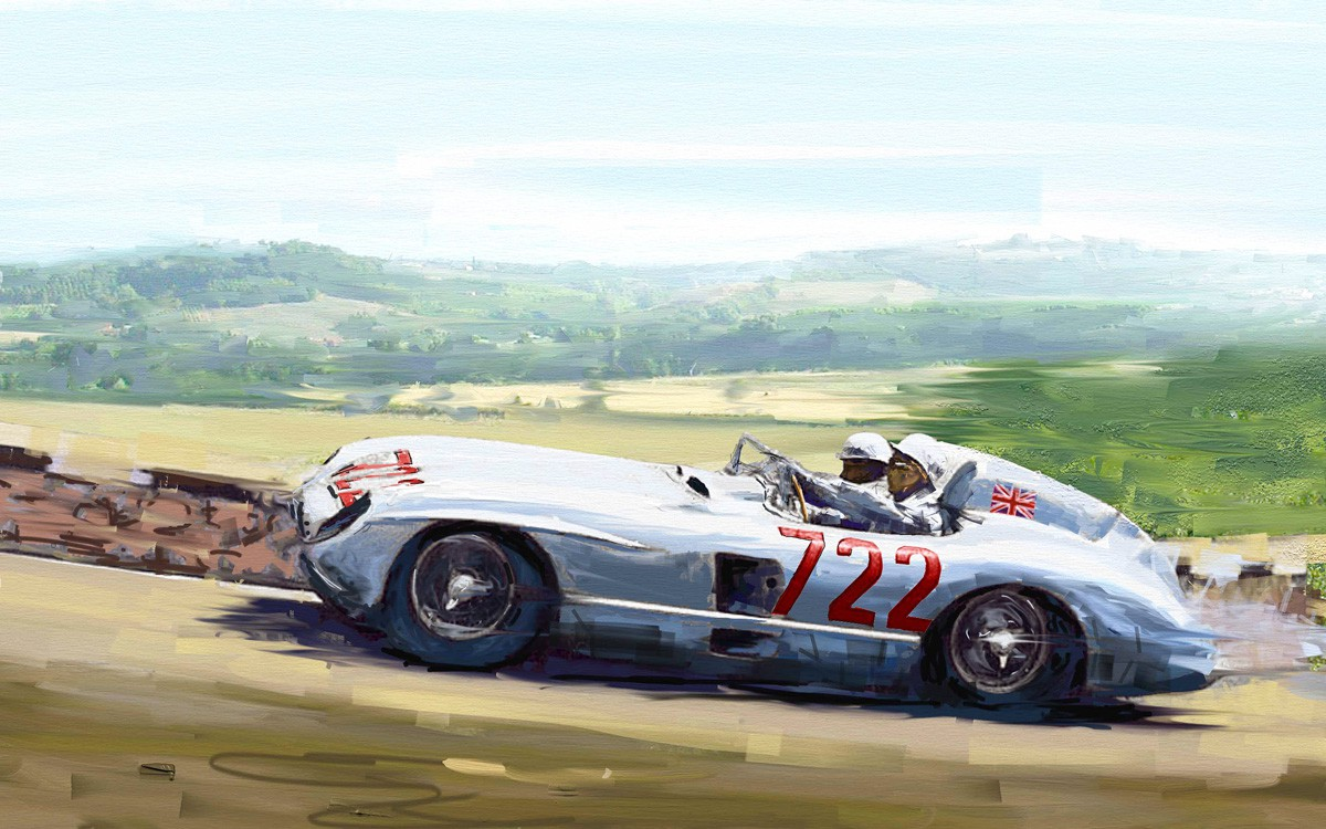 Mercedes 300 SLR mit Stirling Moss bergauf