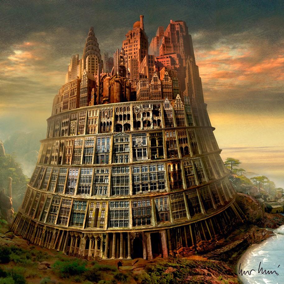 "Igor Morski: ""Tower of Babel"", komplettes Motiv mit Signatur rechts unten"