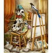 Agnes Boulloche: Original-Ölbild Atelier Peintre, 2012