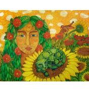 """Jane Lebedeva: Original Gouache """"Sonnenblumen"""", 2011"""