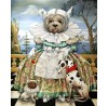 Agnes Boulloche: Original-Ölbild Menine Dog Cerise, 2012