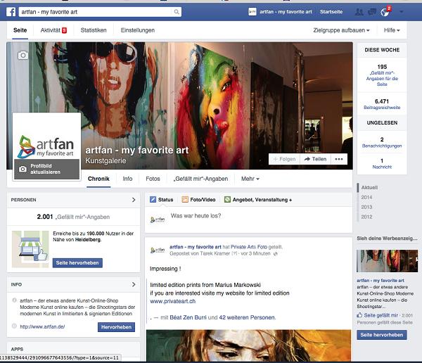 Artfan Facebook über 2000 Fans