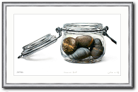 Stillleben Kunstwerk von Johannes Wessmark mit Namen Findlinge im Glas stones in glas