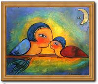 Vogelfreunde Original Öl Gemälde von 2009 Liebe Kunst