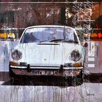 porsche kunst bilder Haub Michael Porsche 911 weiss front junge Kuenstler