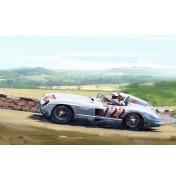 Mercedes 300 SLR mit Stirling Moss bergauf