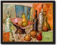 Stillleben von Alexander Sigov mit Namen Stillleben mit rosa Schale